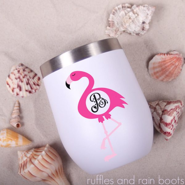 flamingo monogram svg and cut file set S