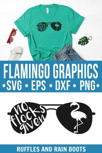 photo collage of flamingo svg for no flocks given cut file with sunglasses flattened with text which reads flamingo graphics svg eps dxf png