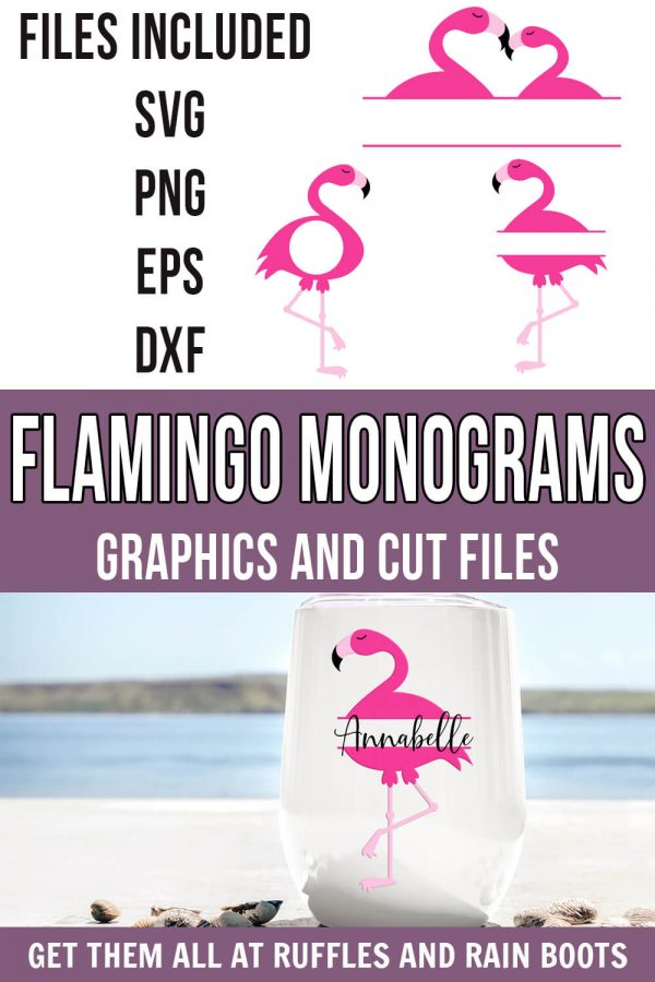 full set of flamingo monogram svg not flattened with text which reads flamingo monograms graphics and cut files