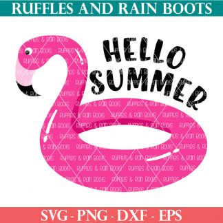 hello summer flamingo pool float svg for cutting machines