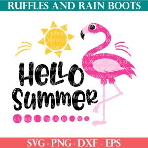 hello summer flamingo svg cut file clipart