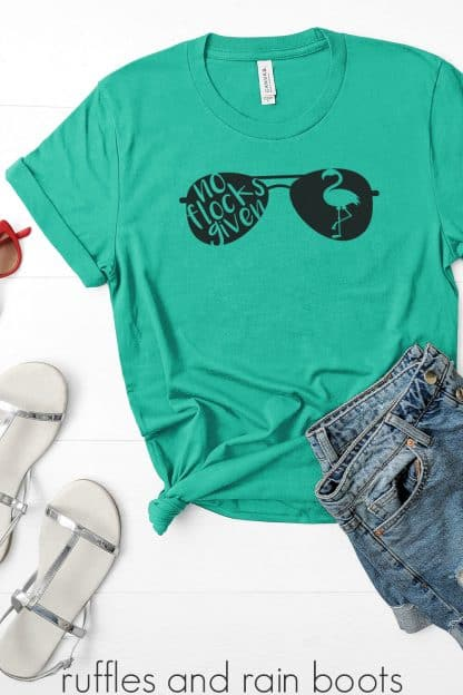 teal tshirt featuring a no flocks given flamingo svg for cricut silhouette vinyl cards