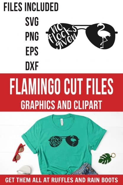 photo collage of no flocks given svg for flamingo summer sunglasses cricut project with text which reads flamingo cut files graphics and clipart
