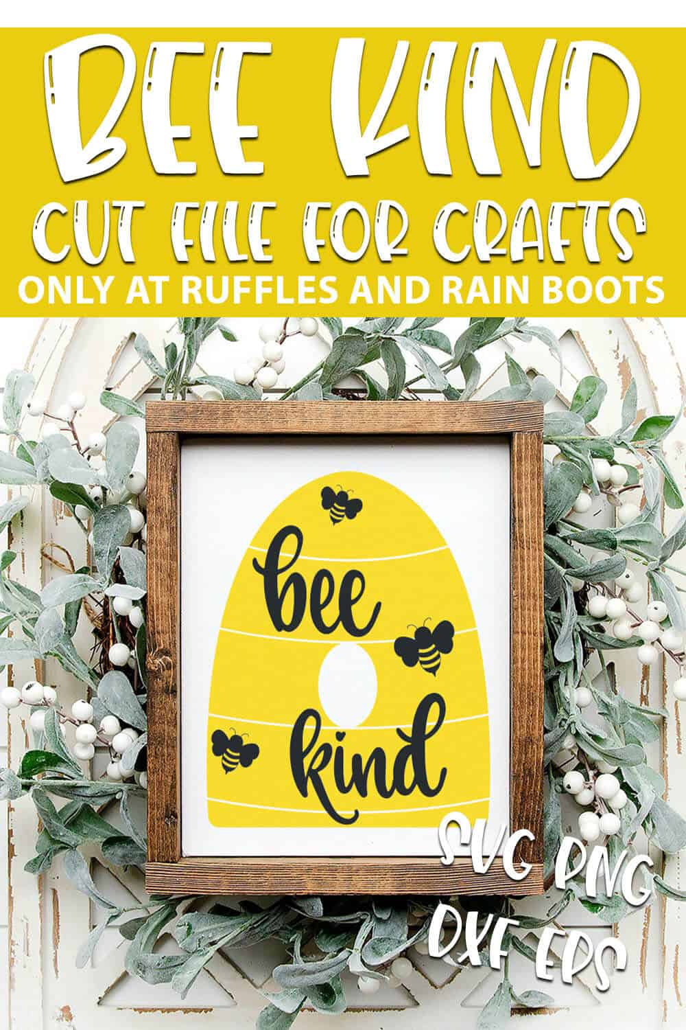 Be Kind SVG Images For cricut or silhouette with text which reads bee kind cut file for crafts