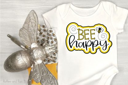Bee Happy cute bee Cut File Set for cricut or silhouette