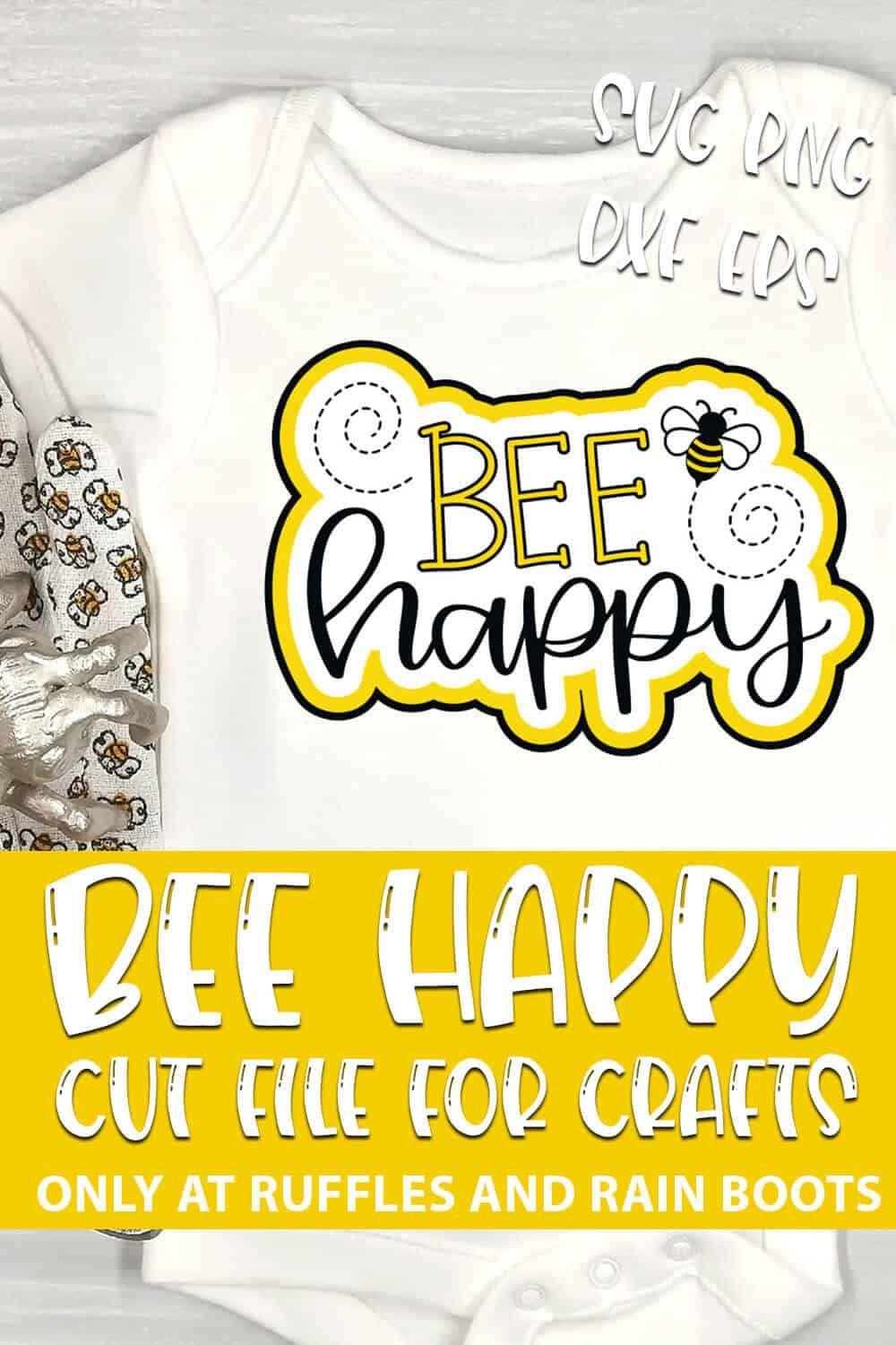 Bee Happy Cut File for cricut or silhouette with text which reads bee happy cut file for crafts