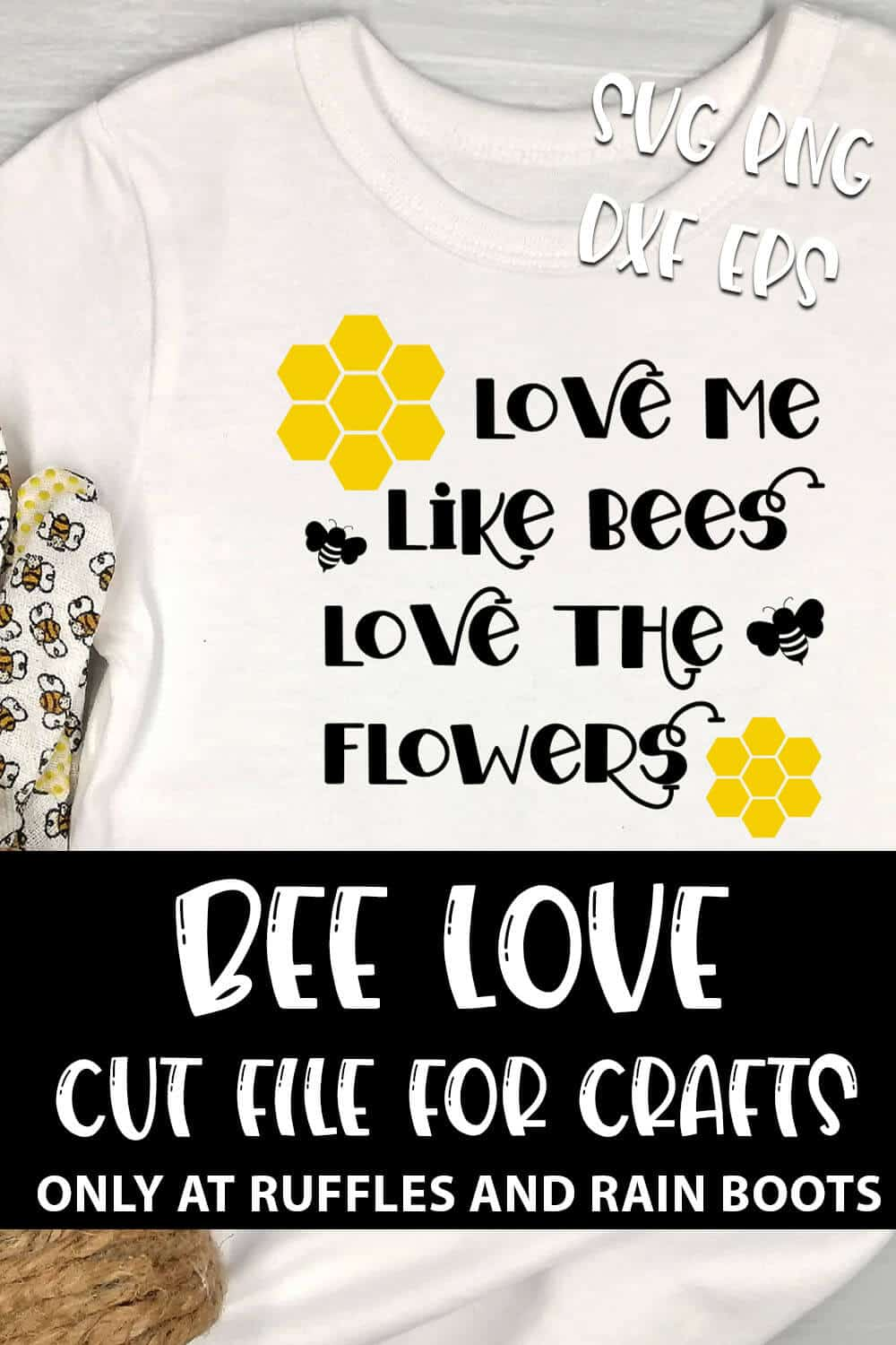 Bee Love SVG For cut file set for cricut or silhouette with text which reads bee love cut file for crafts