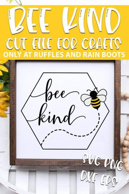 bee kind Beehive SVG for cutting machines with text which reads bee kind cut file for crafts