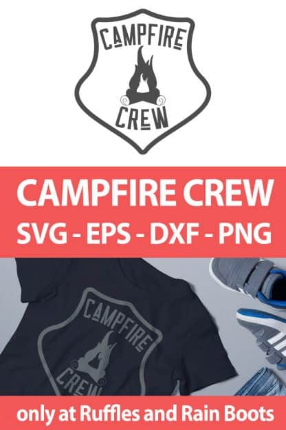 photo collage of Campfire Crew camping SVG for camping crafts with text which reads campfire crew svg eps dxf png