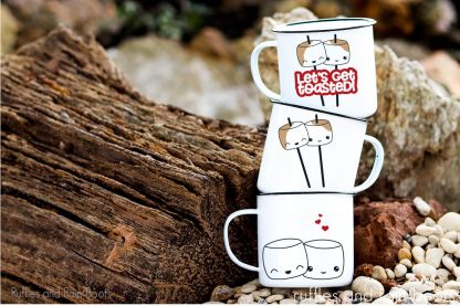 Kawaii S'mores SVG bundle for cricut or silhouette on a trio of camping mugs stacked on top of each other