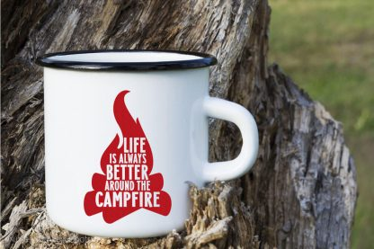 Life is Better Around the Campfire SVG for crafts on a white camping mug
