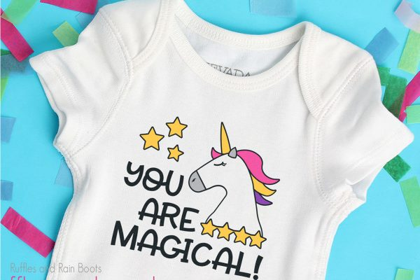 baby onesie featuring the you are magical! unicorn cut file design for sublimation