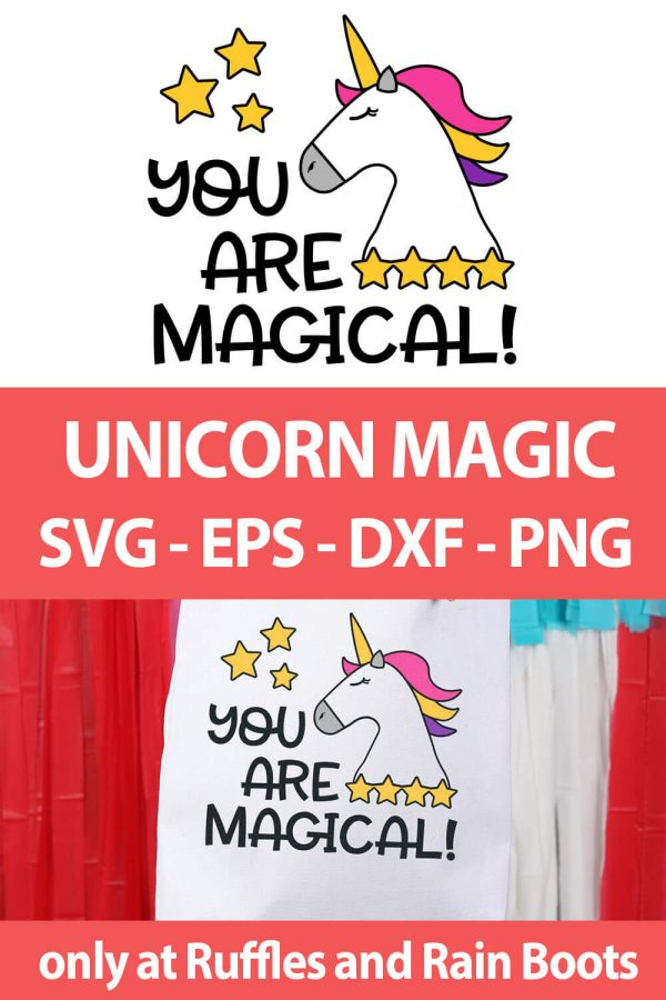 photo collage of Magical Unicorn Cut File set for cutting machines with text which reads unicorn magic svg eps dxf png