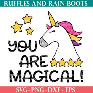 You are Magical Unicorn Cut File set for Cricut or Silhouette cutting machines perfect for sublimation