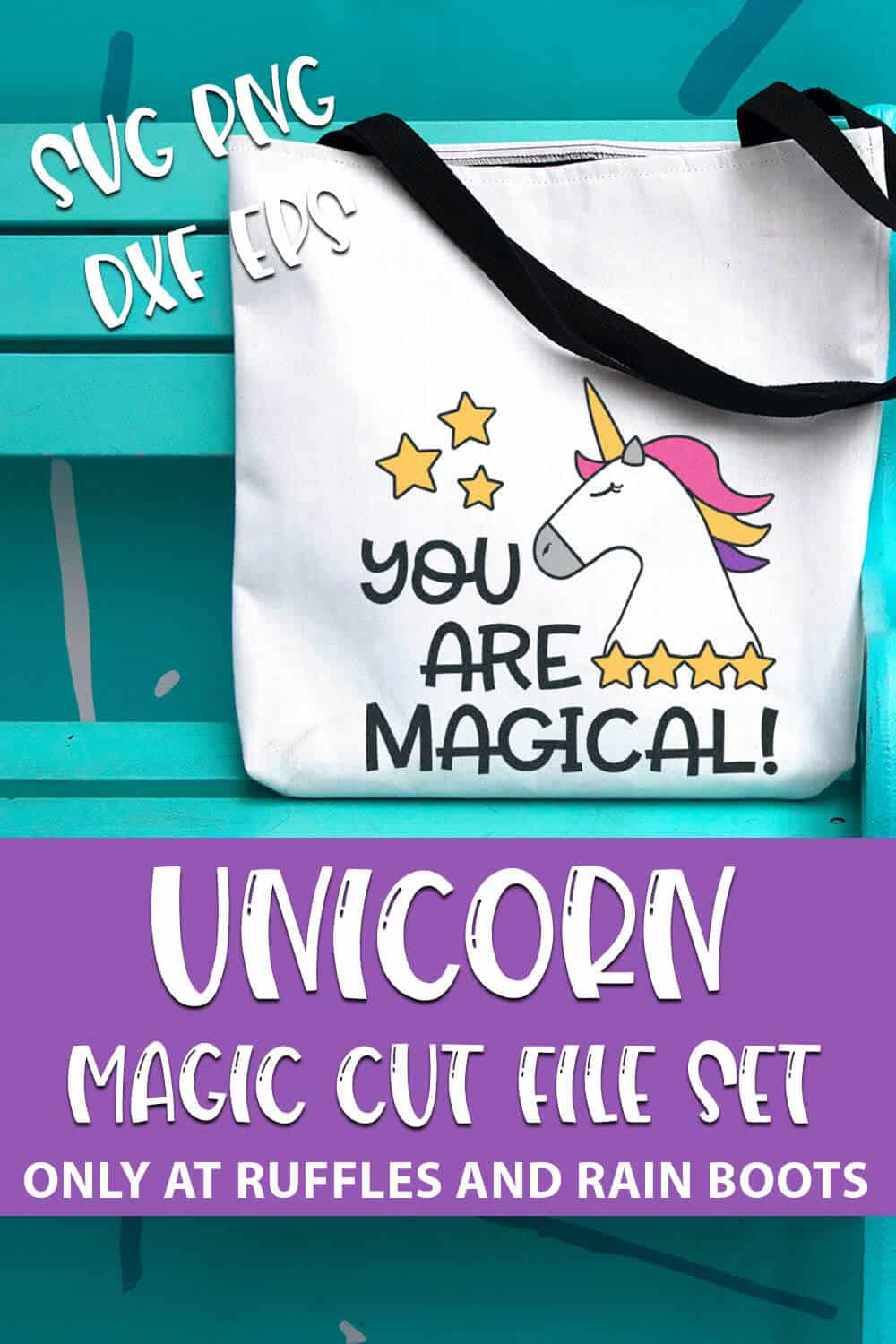 Magical Unicorn SVG Files for Cricut or Silhouette with text which reads unicorn magic cut file set svg png dxf eps