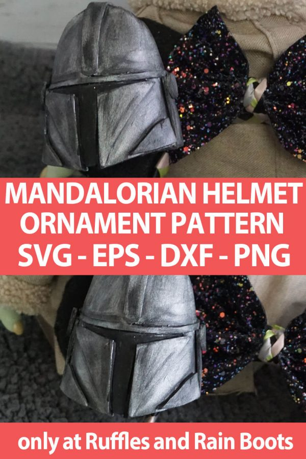 photo collage of photo collage of mini Mandalorian Helmet Pattern cut file set for cutting machines with text which reads mandalorian helmet ornament pattern svg eps dxf png