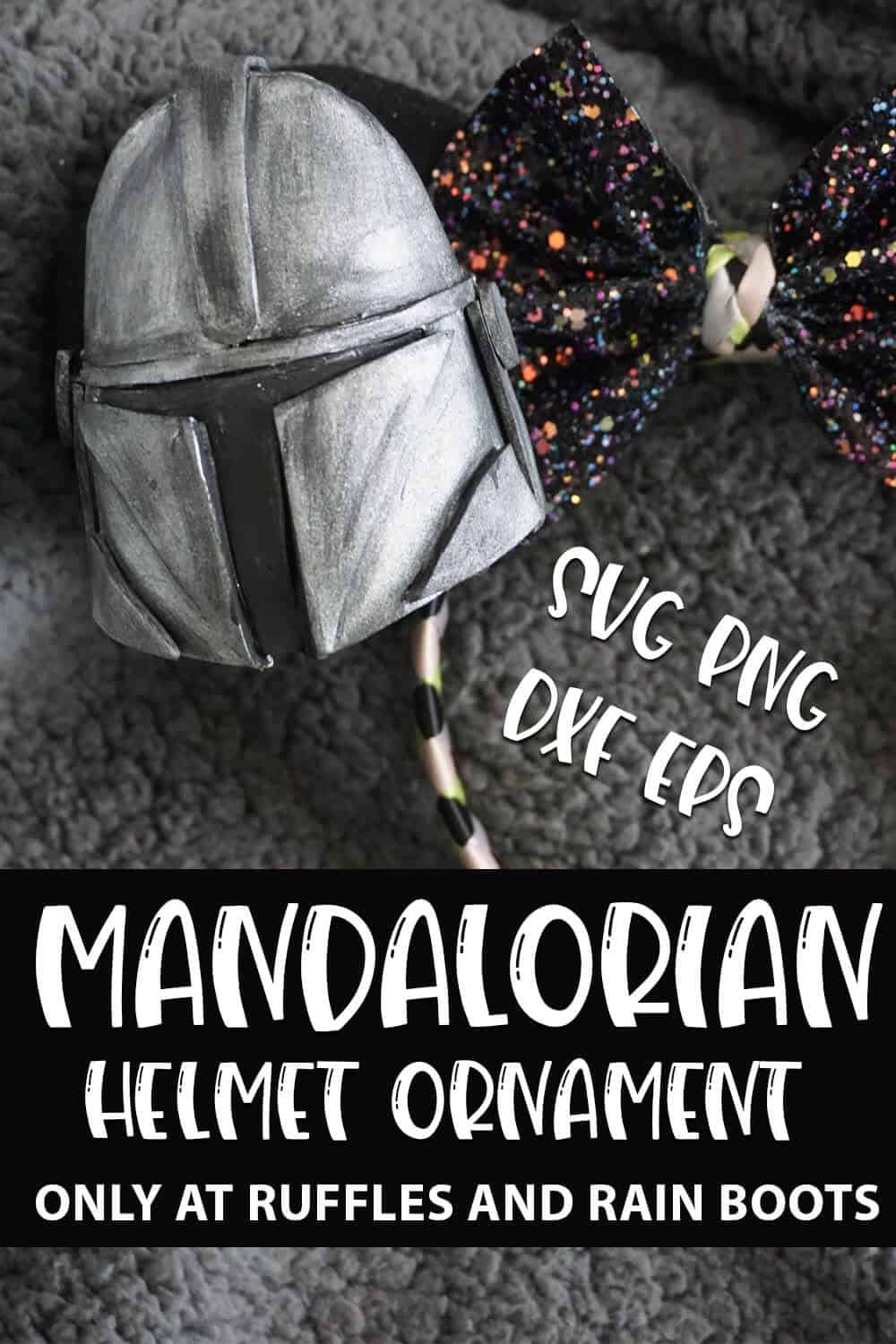 Mandalorian Helmet Ornament Pattern cut file set for cricut or silhouette with text which reads mandalorian helmet ornament svg png dxf eps