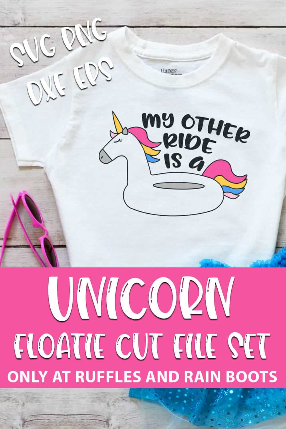 My Other Ride is a Unicorn Floatie Cut File Set For cricut or silhouette with text which reads unicorn floatie cut file set svg png dxf eps