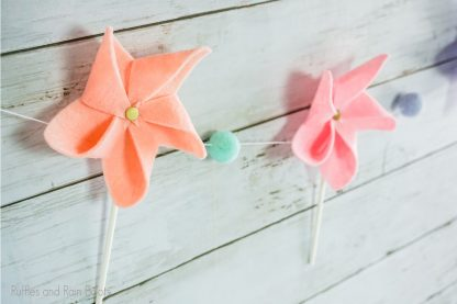DIY Pinwheel garland made from felt