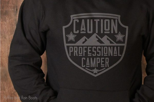 Professional Camper cut file for cutting machines on a black sweatshirt