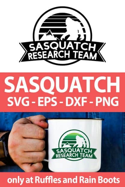 photo collage of Sasquatch SVG for cutting machines with text which reads sasquatch svg eps dxf png