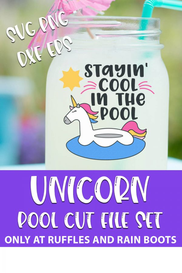 Stayin' Cool In the Pool Unicorn Cut File Bundle For cricut or silhouette with text which reads unicorn pool cut file set svg png dxf eps
