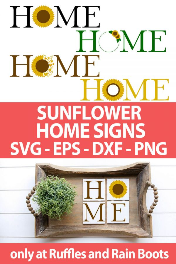 photo collage of home Sunflower cut file set for cutting machines with text which reads sunflower home signs svg eps dxf png