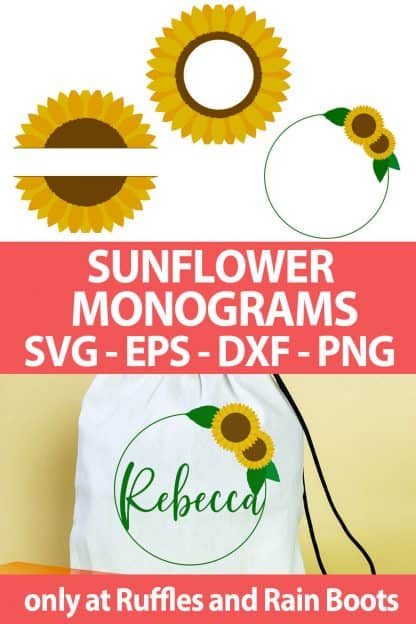 photo collage of Sunflower cut files For sublimation or cutting machines with text which reads sunflower monograms svg eps dxf png