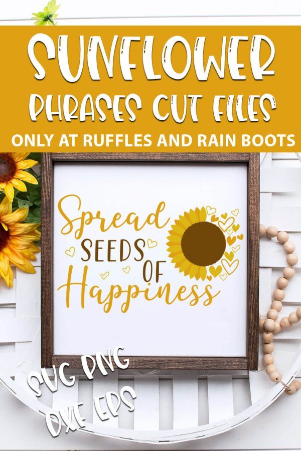 Sunflower SVG bundle for cricut or silhouette with text which reads sunflower phrases cut files svg png dxf eps