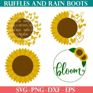 four Sunflower SVGs For sublimation summer crafts