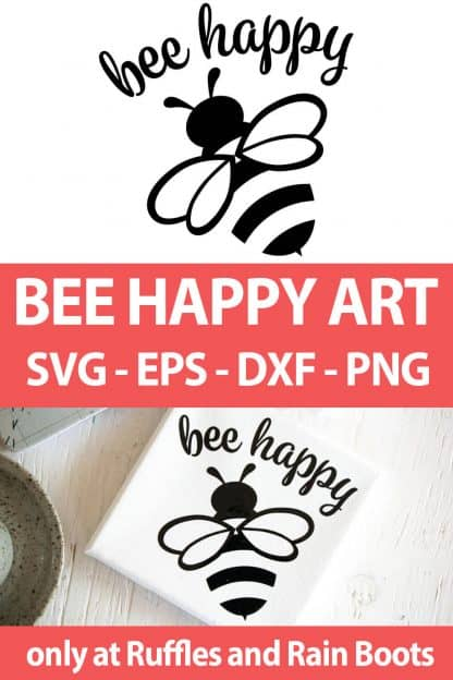 photo collage of bee SVG file For cricut or silhouette with text which reads bee happy art svg eps dxf png