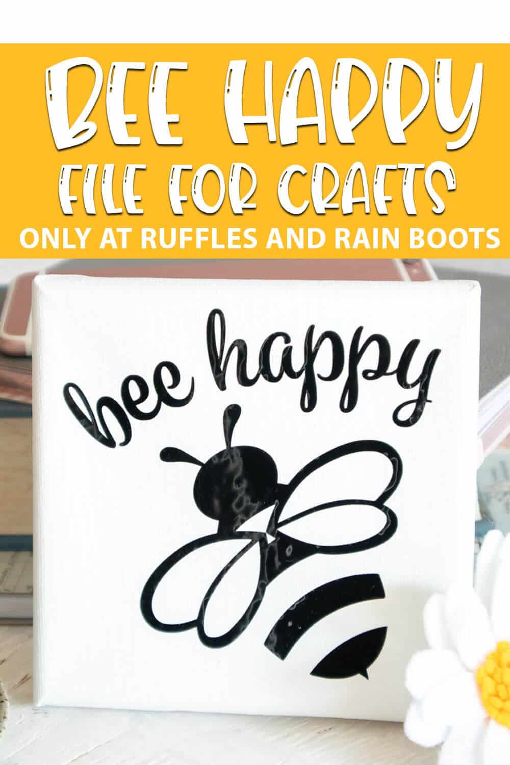 bee mini-canvas art cut file For cricut joy or other cutting machines with text which reads bee happy file for crafts