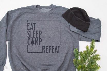 free camping SVG file set For cricut or silhouette on a sweatshirt