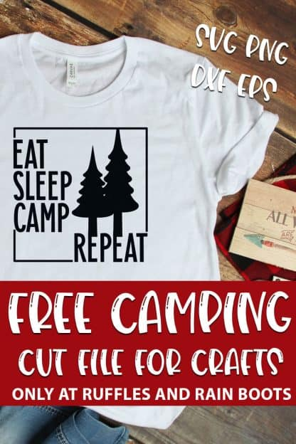 free camping cut file set For cricut or silhouette with text which reads free camping cut file for crafts