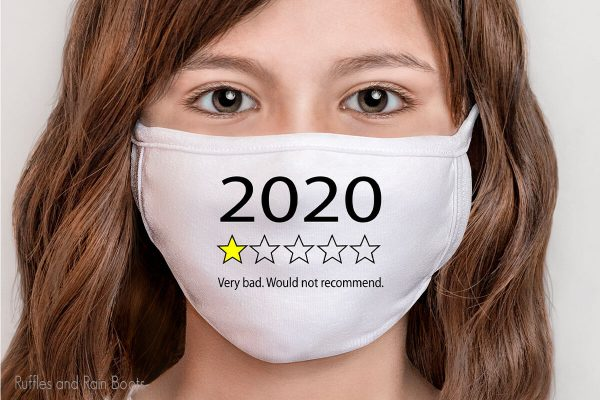 face mask on a girl with a funny 2020 in review cut file set
