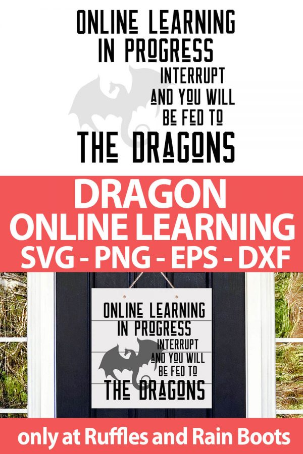 photo collage of Dragon Online Learning cut file set for cricut or silhouette with text which reads dragon online learning svg png eps dxf