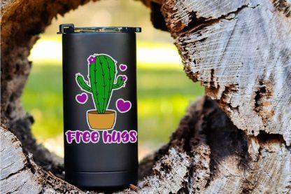 funny free hugs cactus cut file set for cricut or silhouette on a black tumbler