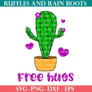 funny cut file set free hugs cactus SVG for cricut or silhouette
