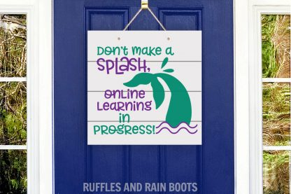 Funny online learning e learning home mermaid splash door sign