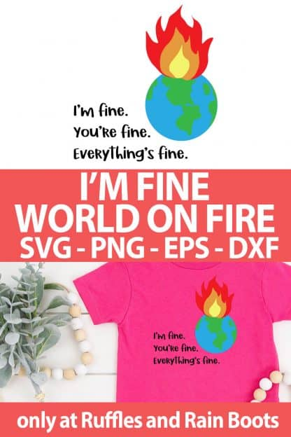 photo collage of I'm Fine World on Fire SVG for cutting machines with text which reads I'm Fine World on Fire SVG png eps dxf