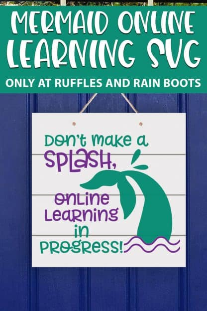 Mermaid online learning cut file set for cricut or silhouette with text which reads mermaid online learning svg