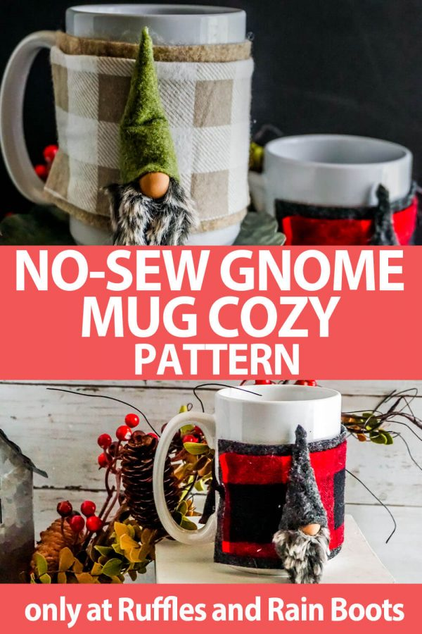 photo collage of No-sew gnome pattern on a mug wrapper with text which reads no-sew gnome mug cozy pattern