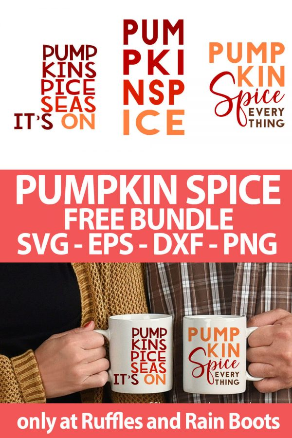 photo collage of Pumpkin Spice fall cut file Bundle free set with text which reads pumpkin spice free bundle svg eps dxf png
