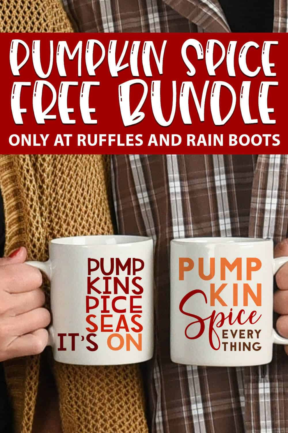 Pumpkin Spice cut file bundle of free cut files for cricut or silhouette with text which reads pumpkin spice free bundle