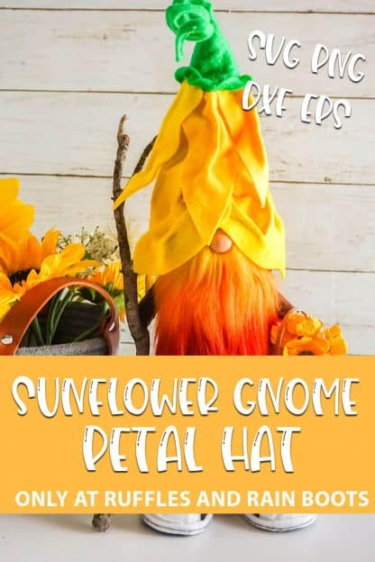 Sunflower gnome pattern with text which reads sunflower gnome petal hat svg png dxf eps