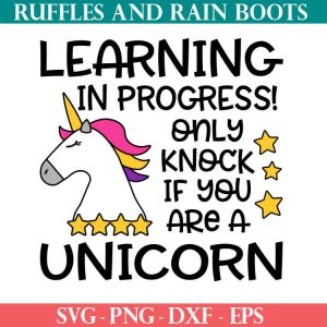 Unicorn Online Learning door sign cut file set
