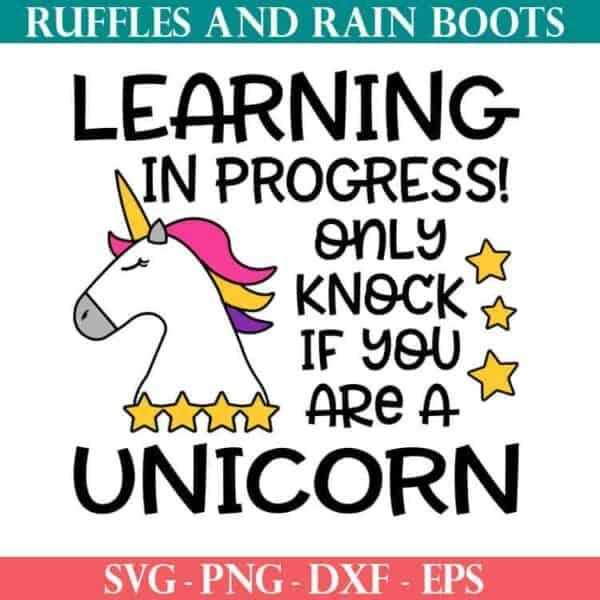 Unicorn Online Learning door sign cut file set