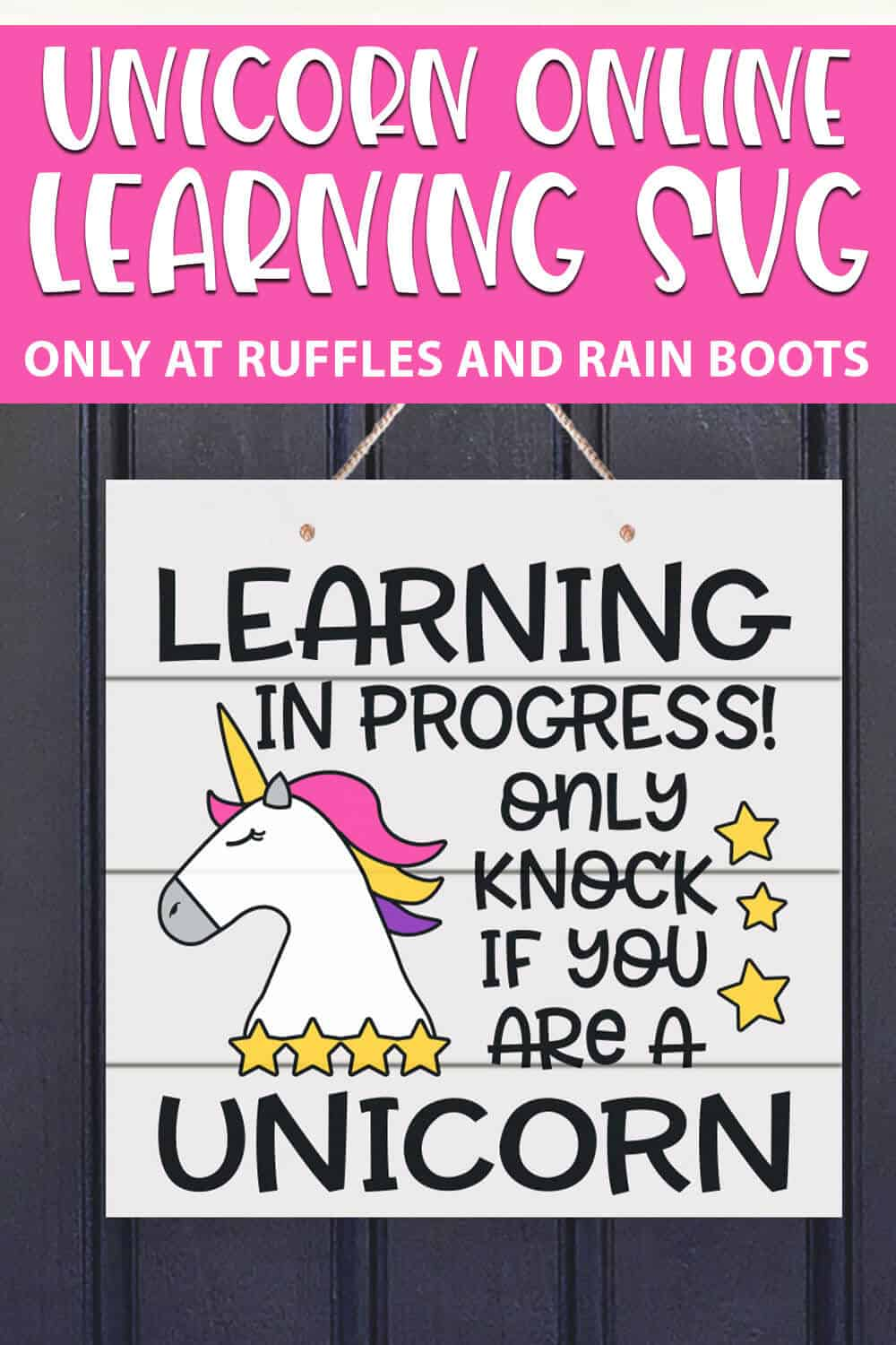 Unicorn Online Learning cut file set for cricut or silhouette with text which reads unicorn online learning svg