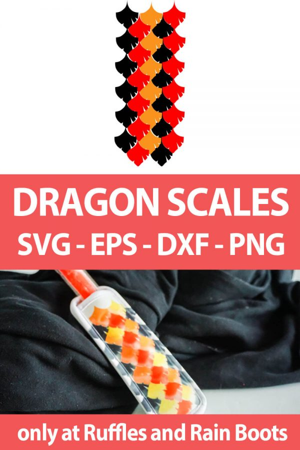 photo collage of dragon cut file set for sublimation or infusible inks with text which reads dragon scales svg eps dxf png
