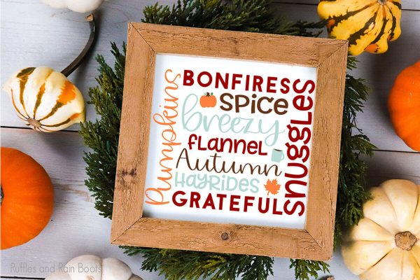 subway style art fall cut file set for cricut or silhouette on a wood sign